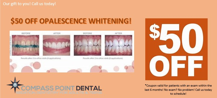 teeth whitening coupon $50 off for patients who have had an appointment in the past six months.
